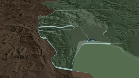 Struga extruded. Macedonia. Stereographic administrative map Animation