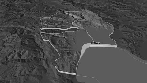 Struga extruded. Macedonia. Stereographic bilevel map Animation