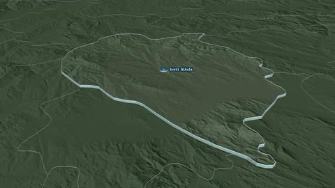 Sveti Nikole extruded. Macedonia. Stereographic administrative map Animation