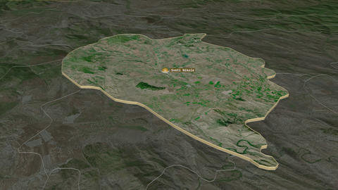 Sveti Nikole extruded. Macedonia. Stereographic satellite map Animation