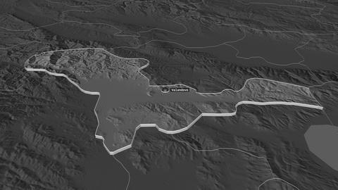 Valandovo extruded. Macedonia. Stereographic bilevel map Animation