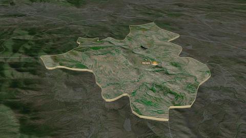 Veles extruded. Macedonia. Stereographic satellite map Animation