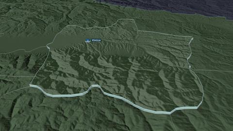 Vinitsa extruded. Macedonia. Stereographic administrative map Animation