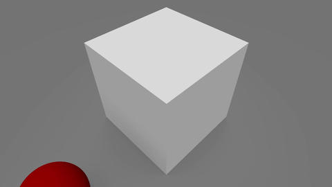 Wrecking red ball breaking the wall of gray cubes, Stock Animation
