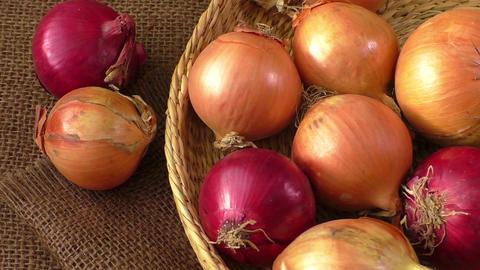 Various onions on a background sacking, burlap Footage