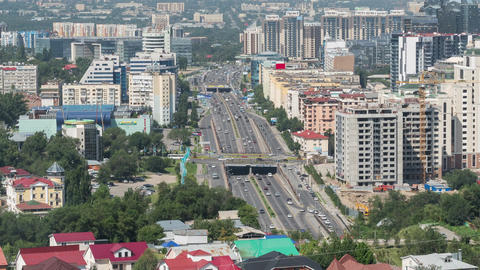 Almaty Downtown Time Lapse Zoom Animation