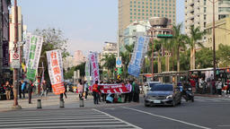 Political demostration at Ximen shopping district Taipei Taiwan Footage