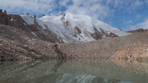 Glacier Lake Reflection Time Lapse 4K Panorama Stock Video Footage