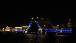 Two wing bascule bridge draw up at night time, dark scene Footage