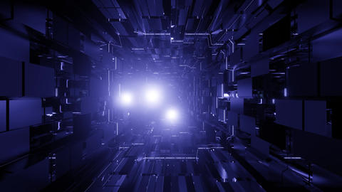 futuristic dark science fiction tunnel with blinking lens flares - a cool 3d Animation