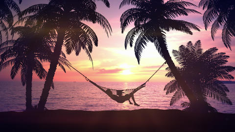 Relax in a hammock on the beach during sunset Animation