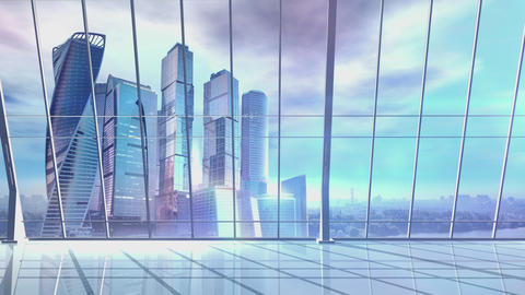 Panorama of a large office with skyscrapers on the background Animation