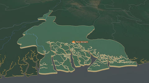 Rivers extruded. Nigeria. Stereographic relief map Animation