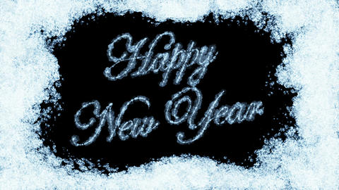 Beautiful Animation of Freezing Window and Text Appearing. Happy New Year Theme. Animation