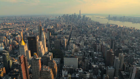 View of Manhattan from the top angle at sunset Footage