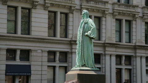 John Watts Statue in Manhattan New York City, a side view Footage