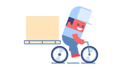 Delivery man riding bike Animation