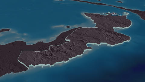 East New Britain extruded. Papua New Guinea. Stereographic administrative map Animation