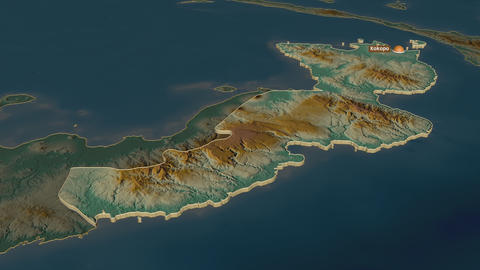 East New Britain extruded. Papua New Guinea. Stereographic relief map Animation
