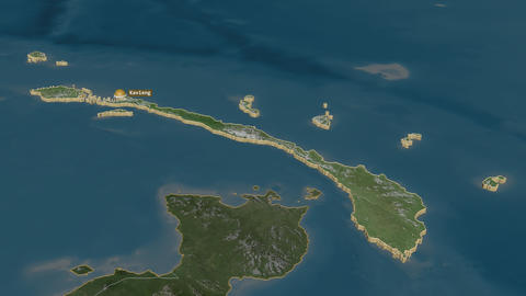New Ireland extruded. Papua New Guinea. Stereographic satellite map Animation