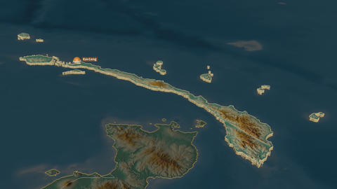 New Ireland extruded. Papua New Guinea. Stereographic relief map Animation