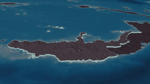 West New Britain extruded. Papua New Guinea. Stereographic administrative map Animation