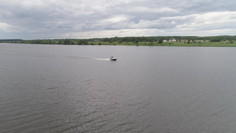 Motor boat on the river Live Action