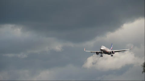 Airbus A320 airliner on final approach before landing Live Action