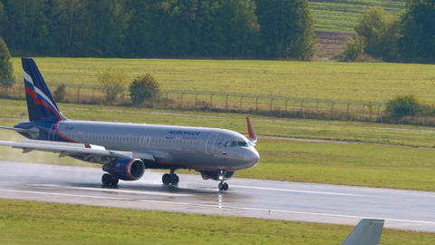 Airbus A320 airliner landing Live Action