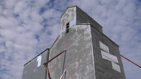 "An abandoned grain elevator with a sign saying Bar/Cafe""... Stock Video Footage"