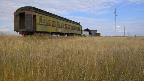 An old abandoned Pullman railway car sits on a siding... Stock Video Footage