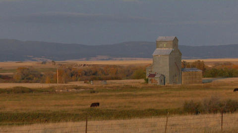 A grain silo stands on the open prairie Stock Video Footage