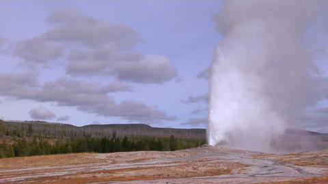 Old Faithful erupts at Yellowstone National Park Footage