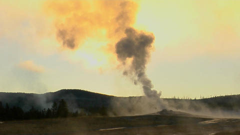 Steam issues from Old Faithful at Yellowstone National Park Footage