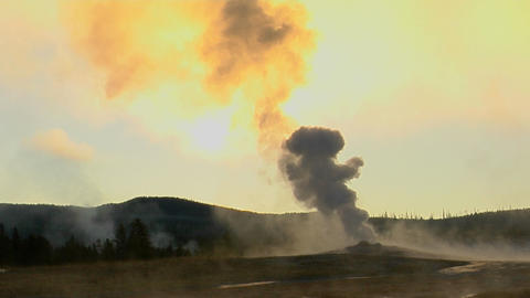 Steam issues from Old Faithful at Yellowstone National Park Stock Video Footage