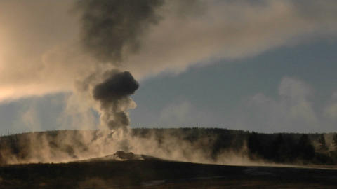Steam billows out of Old Faithful at Yellowstone National... Stock Video Footage