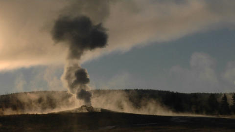 Steam billows out of Old Faithful at Yellowstone National Park Footage