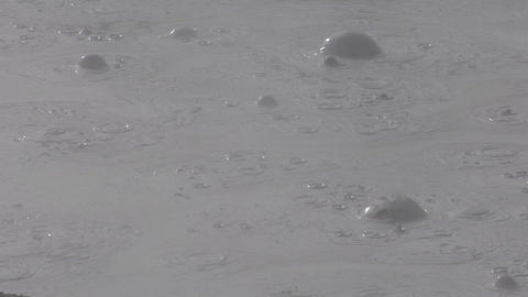 A mud pit bubbles at Yellowstone National Park Stock Video Footage
