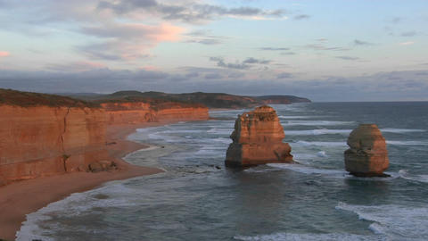 The Twelve Apostles rock formation stands out on the Australian coast Footage