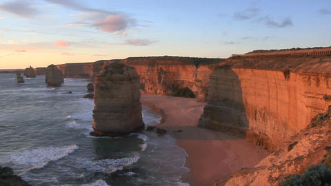 The Twelve Apostles rock formation stands out on the Coast of Australia Footage