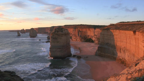 The Twelve Apostles rock formation stands out on the... Stock Video Footage