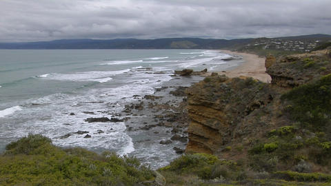Waves roll onto the rugged coastline of South Victoria,... Stock Video Footage