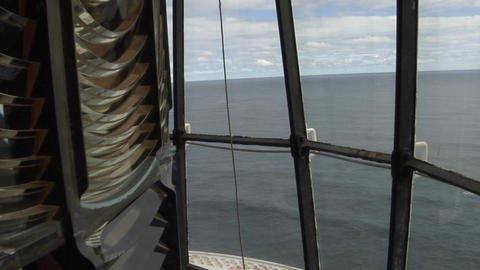 An unlit light rotates in a lighthouse Footage