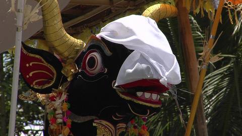 A figure is featured in a cremation ceremony in Indonesia Stock Video Footage