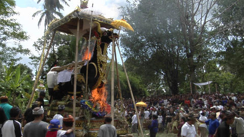 A group of people gathers for a cremation ceremony in Indonesia Footage