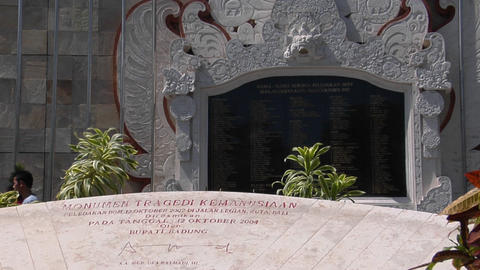 A memorial honors the victims of the Bali bombings Stock Video Footage