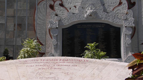 A memorial honors the victims of the Bali bombings Footage