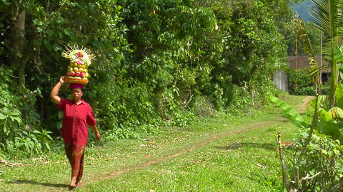 A woman carries a basket of fruit on her head while... Stock Video Footage