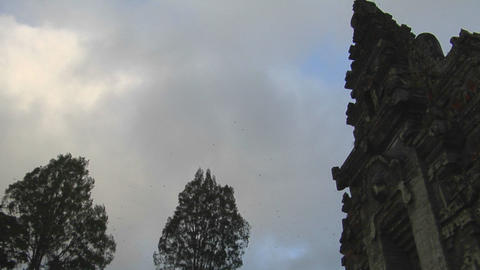 The clouds pass over a Balinese temple in Bali, Indonesia Footage