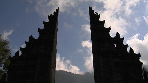 The clouds pass over a Balinese temple gates in Bali,... Stock Video Footage